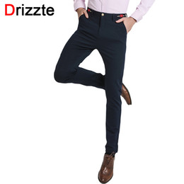 Wholesale Rose 31 - Wholesale- Drizzte Brand Embroid Rose Waist Quality Mens Dress Pants Blue Slim Trousers for Men Size 27 28 29 30 31 32 33 34 36 38