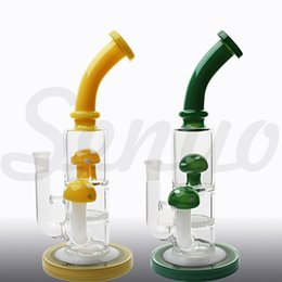 Wholesale Mushroom Pipe Smoking - 2017 glass bongs honeycomb and mushroom dome recycler oil rig water glass pipes for smoking glass bongs