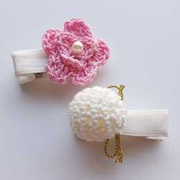 Wholesale Knit Ball Headband - Baby Girls Knitted Floral Ball Hair Clips Hairpins Christmas Princess Sweet Kids Candy Color Fashion Party Hair Accessories