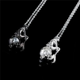 Wholesale Tin Plated Copper - New Love Wish Pearl Cages Locket Necklace Freshwater Pearls Oyster Pendant Silver Plated Mermaid Necklaces Women Fine Jewelry Xmas Gift A004