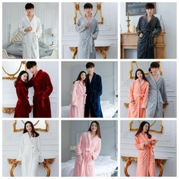Wholesale Fleece Bathrobes Women - Fleece Warm Bathrobe Women Men Coral Soft Flannel Winter Kimono Bath Robe Night Gown Spa Wear 11 Colors OOA3114