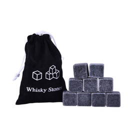 Wholesale Wholesale Whiskey Gift Sets - Factory Direct Sale 100% Natural Whiskey Stones 9pcs Set Sipping Ice Cube Whisky Stone Whisky Rock Cooler Wedding Gift Favor Christmas Bar