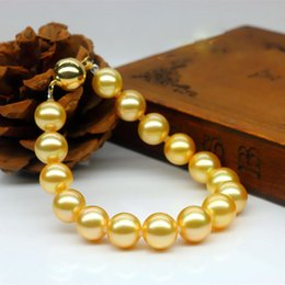 """Wholesale Wholesale Sea Shell Pearl Strand - 8 10 12mm Natural Golden South Sea Shell Pearl Gemstone Beads Bracelet 7.5"""" AAA"""