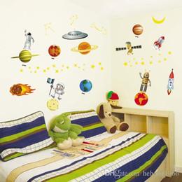 Стеновая головоломка онлайн-Настенные наклейки Вселенной Space Экологию Puzzle обои Water Proof Kid Art Room Декаль Home Decor Стильный 3HL F R