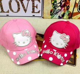 Wholesale Hello Snapbacks - 2017 Cute Red pink Hello Kitty Cap For Baby Boy Parent Child Hat Cartoon Print Children Boys Girls Hip Hop Baseball Snapbacks