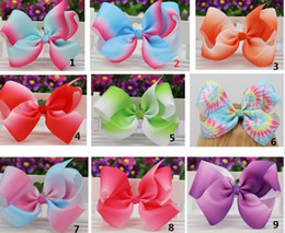 Wholesale Grosgrain Bows For Sale - 6'' ombre grosgrain ribbon boutique hair bows WITHOUT clips girls rainbows hairbow For Teens Gift drop shipping hot sale 24pcs