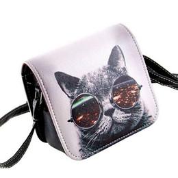 Al por mayor- Bolsos Carteras Mujer Marca Mujeres PU cuero Cat Wearing Glasses Print Messenger bolso 2016 mujeres bolso B40-484 desde fabricantes