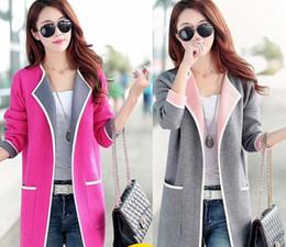 Wholesale Korean Knit Jacket - Wholesale- Korean women 's autumn and winter knitting long loose color large loose sweater cardigan jacket