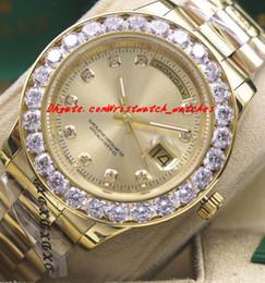 Wholesale Mens 18k Watch Diamond - Luxury Watches 2017 Mens 18k Yellow Gold Dial Bigger Diamond Bezel Watch 18338 Automatic Fashion Brand Men's Watch Wristwatch