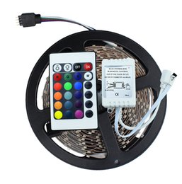 Wholesale Pc Meter - 3528 SMD No-Waterproof RGB LED Strip Light DC 12V 5 meters 60led m LED Flexible Light Strip with remote controller free shipping