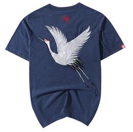 Wholesale Japan Printed T Shirt Men - 100% Cotton Mens Casual Tee Short Sleeve Shirt Japan Ukiyoe Tattoo Art Design Crane Bird Pattern Embroidered T Shirt