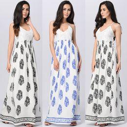 Wholesale Halter Neck Beach Dresses - 2017 new summer fashion Bohemia printed chiffon skirt mopping beach halter dress sub sling