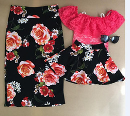Wholesale Rise Clothing - 2017 Family Matching Outfits Mother And Daughter Flower Skirts Baby Girls Red Rose Skirt Kids Parent Summer Clothes Family Look
