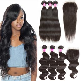 Wholesale Top Wholesale Items - Hot Items Brazilian Virgin Hair Body Wave Straight 3 Bundles with 4X4 Top Lace Closure Remy Human Hair Weaves Closure and Bundles