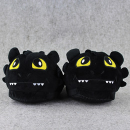 Wholesale Dragon Toothless Plush - 1 Pair Toothless Night Fury How To Train Your Dragon indoor Slippers Plush Shoes Warm Winter Adult Slipper Toy Christmas Gift