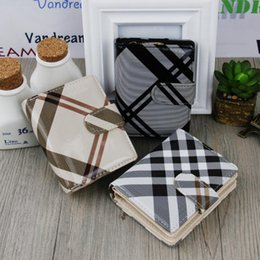 Wholesale Mirror For Wallet - Trendy PU Leather Notecase Short Design Stripe Mirror Smooth Wallet Zipper & Hasp Lady Card Holders Coin Purse for Women