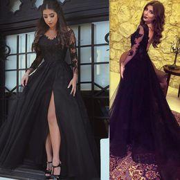 Wholesale Vintage V Neck Dress Guest - 2017 Vintage Black Long Sleeves Evening Dresses Split Backless A-line Appliqued Lace Prom Party Gowns Weddings Guest Dress