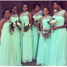 Wholesale One Shoulder Mint Dress - 2018 New Mint Green Cheap Chiffon Bridesmaid Dresses For Wedding Pleats One Shoulder Formal Maid Of Honor Evening Gown Custom Made