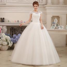 Wholesale Cap Sleeve Ball Dresses - Real Photo Cheap Short Cap Sleeve Wedding Dress 2017 Lace Vintage Plus Size Princess Bridal Vestido de Noiva Ball Gown Lace Up