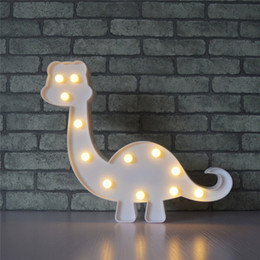 Wholesale led sign emergency light - 3D Marquee Dinosaur Night Lamp with 12 LED Battery operated Warm White Sign Letter light for Kids Bedroom Gift For Christmas Decoration