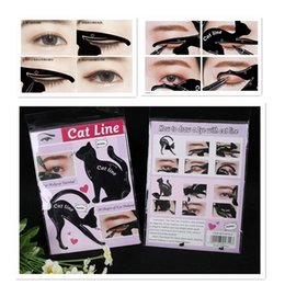 Wholesale Cat Materials - STOCK Newest Cat Line Cat Eyeliner Stencil Cat Line Matte PVC Material Repeatable Use Eyeliner Template Plate DHL free shipping