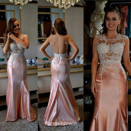 Wholesale High Neckline Cheap Prom Dress - High Quality Jewel Neckline Long Satin Prom Dress Mermaid Applique Backless Women Wear Special Occasion Cheap Party Dress Plus Size