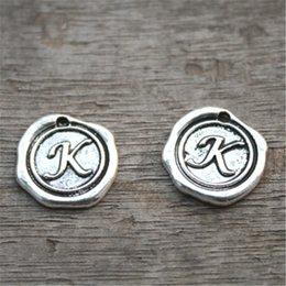 Wholesale Letter K Charms - 15pcs-Letter K Alphabet Charms, Antique Tibetan Silver Tone Alphabet Letter K Charm Pendant 18x18mmqaqqq