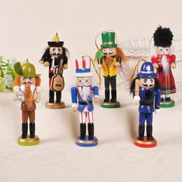 Wholesale Christmas Nutcracker Ornaments - Christmas Nutcracker Ornaments Set H12cm Wooden Nutcrackers Hanging for Tree