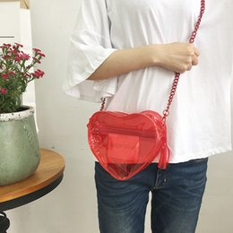 Wholesale Harajuku Clutch - Wholesale-heart shaped transparent red bag shoulder clutch rubber ulzzang women style harajuku girl