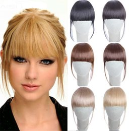 Wholesale Synthetic Fringe - Clip in Bangs Fake Hair Extension Hairpieces False Hair Piece Clip on Front Neat Bang For Women Synthetic Hair Fringe Bangs 1PC