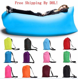 Wholesale Fast Inflatable Air Sleeping Bag Waterproof Lazy Sofa Bed Festival Camping Hiking Travel Hangout Beach Bag Bed Camping Banana Couch Free DHL