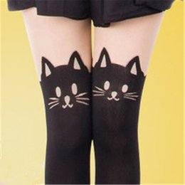 Wholesale Heart Stocking Tights - Wholesale- 2016 Women Girl Tights Bow Heart Bird Bow Pattern False High Stocking Pantyhose For Female Spring Autumn Sexy Slim Tights