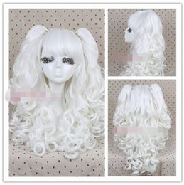 Wholesale Cosplay Lolita Wigs White - Free Shipping>>> Hot !!! new Beautiful Fashion new Lolita full wig curly wave clip on ponytail white hair party cosplay wig