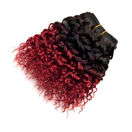 Wholesale Red Short Curly Hair - 7a Ombre Red Brazilian Human Hair Extensions Kinky Curly 300g Fashion Short Bob Two Tone Curly Hair Ombre Human Hair Weave 6 Bundles