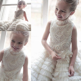 Wholesale Collar Neckline Wedding Dress - Fabulous Beaded Tiered Flower Girls Dresses For Weddings Jewel Neckline Baby Girls Communion Formal Wears Knee Length Pageant Gowns 2017