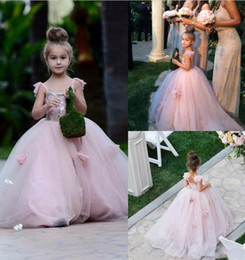 Wholesale Juniors Ball Gowns Straps - 2017 Blush Pink Flower Girls Dresses Spaghetti Straps Junior Bridesmaid Dress Ball Gown Kid Birthday Prom Party Pageant Dress