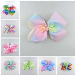 Wholesale Striped Headbands - 20pcs 18cm jojo Pastel flora ombre ribbon hair bows clips Prom Rainbow Striped Dance Cheerleader Pageant hair Accessories HD3476