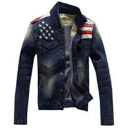 Wholesale Mens Coats Xl Usa - Denim jacket Men USA Design Slim Style Jeans Jacket mens jackets and coats Stitching Washing Coat Autumn spring Outwear
