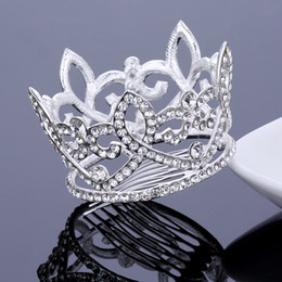 Wholesale Silver Diamond Flower Bridal - Bridal Wedding Full Circle Tiaras and Crowns Crystal Flower Hair Comb Medium Size Round Crown Princess Hair Jewelry Prom Accessories NEW