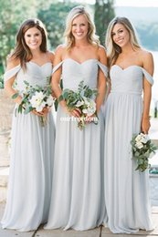 Wholesale Winter Grey Wedding Gowns - 2018 Grey Sky Blue Chiffon Bridesmaid Dresses Off The Shoulder Floor Length Waist With Beaded Maid Of Honor Wedding Guest Gown Cheap Hot