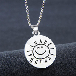 Wholesale Silver Smile Charms - you are my Sunshine Smile Coin Pendant Necklace Silver Plated Inspirational Pendants for Women Fashion Jewelry Gift