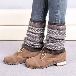 Wholesale Jacquard Knitted Legging - Wholesale-Warmers Jacquard Knitted winter boots women winter Leg Warmers Socks Boot coturno feminino couro boots