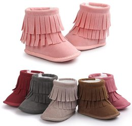Wholesale Wholesale Fur Lace Up Boots - 12 pairs lot(can mix colors and sizes)Tassel style Nubuck baby boots Fashion Winter baby shoes Comfortable Warm outdoor Mocs toddler shoes