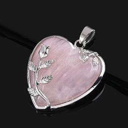 Wholesale Cheap Wholesale Jewelry Making - Cheap Elegant Pink Rose Jewelry Quartz Heart Flower Pendant Bead Fit Necklace Making Pendant Necklaces