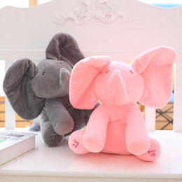 Wholesale Soft Stuffed Elephant Toy - 30cm Peek a boo Electric Elephant Plush Soft Toy Animal Stuffed Doll Play Hide And Seek Cute Play Music Elephant Educational Toy