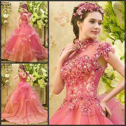 Wholesale Rose Princess Skirt - New Style Luxury Crystals Short Sleeve Sheer Rose Royal Wedding Dresses High Neck Sweep Train Formal Ruffle Tiered Bridal Dresses Princess