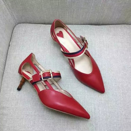 Wholesale Red Mary Jane Pumps - Letu126 Office Lady Mary Jane Buckle Strap Bamboo Shaped Heel Party Dress Shoes High Heels Women Shoes Genuine Leather Pump Sz 35-39