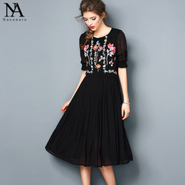 Wholesale Women S Sleeve Bodice Dress - New Arrival 2017 Summer Women's O Neck Short Sleeves Embroidery Bodice Ruched Elegant Black High Street Dresses