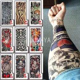 Wholesale Tattoo Arm Covers - Wholesale- 1 Piece Fake Sleeve Tattoo Elastic Arm Cover Tattoo Sleeve Temporary Tattoos Faux Sleeves Men Tattoos Women