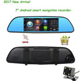 "Wholesale Gps Sd Navigation Card - Android Dual Lens 7"" HD 1080P Car DVR GPS Navigation Rearview Mirror Camera Wifi"